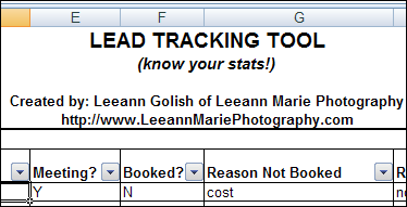 Excel Lead Tracker For Photographers – Spreadsheet Day
