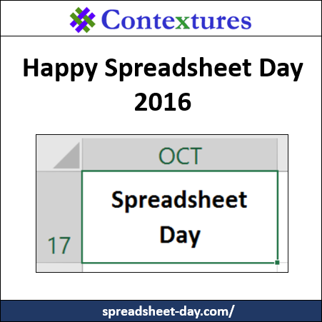 Happy Spreadsheet Day 2016 http://spreadsheet-day.com/blog/